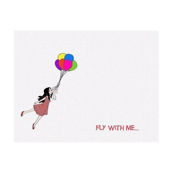 flying balloon FLY WITH ME found on Polyvore