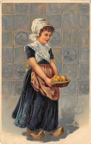 Postcards Dutch Girl Carries Pears in Dish