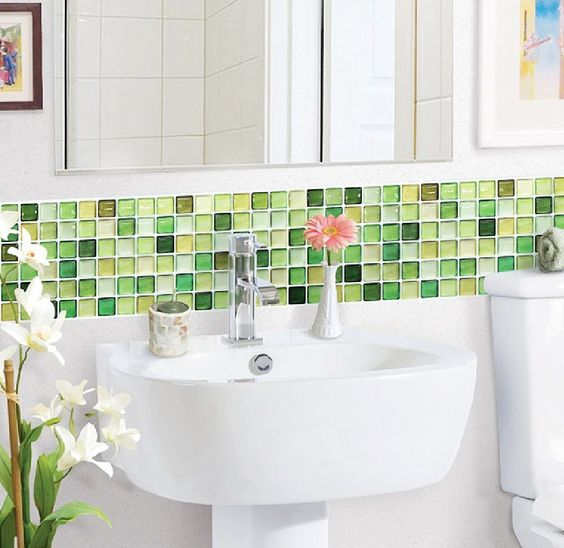 Lime green glass tiles ideas and products bathrooms decor lime green decor and fresh and clean Bathroom decor for tiles