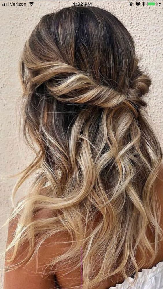 42 Gorgeous Wedding Hairstyles Messy Half Up Half Down Wedding Hairstyles With Waterfall Curls And Braids Hair Styles Glamorous Wedding Hair Long Hair Styles