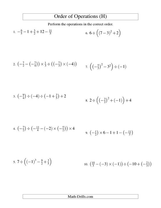 Order of Operations with Fractions -- Four Steps Including - order of operations worksheet