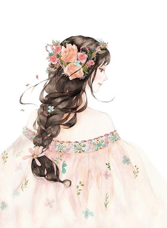 llustration pour mon tableau cheveux >> tutoriel tresses