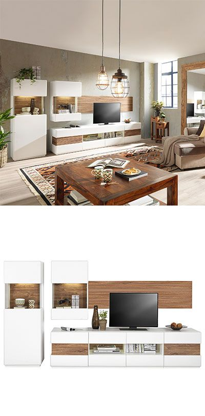 Wohnwand Weiß Holz
