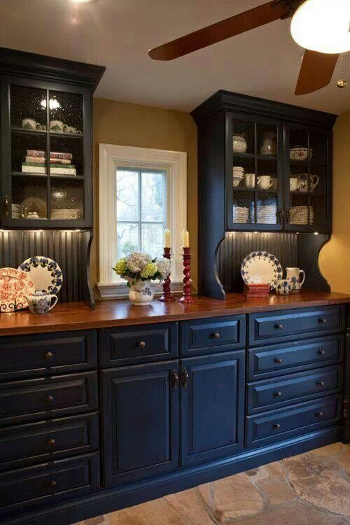 Navy Cabinets Mustard Walls Kitchen Pinterest