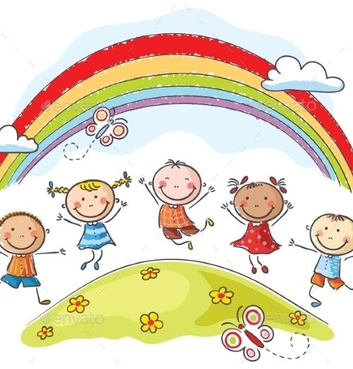 Kids Jumping Around a Rainbow - People Characters