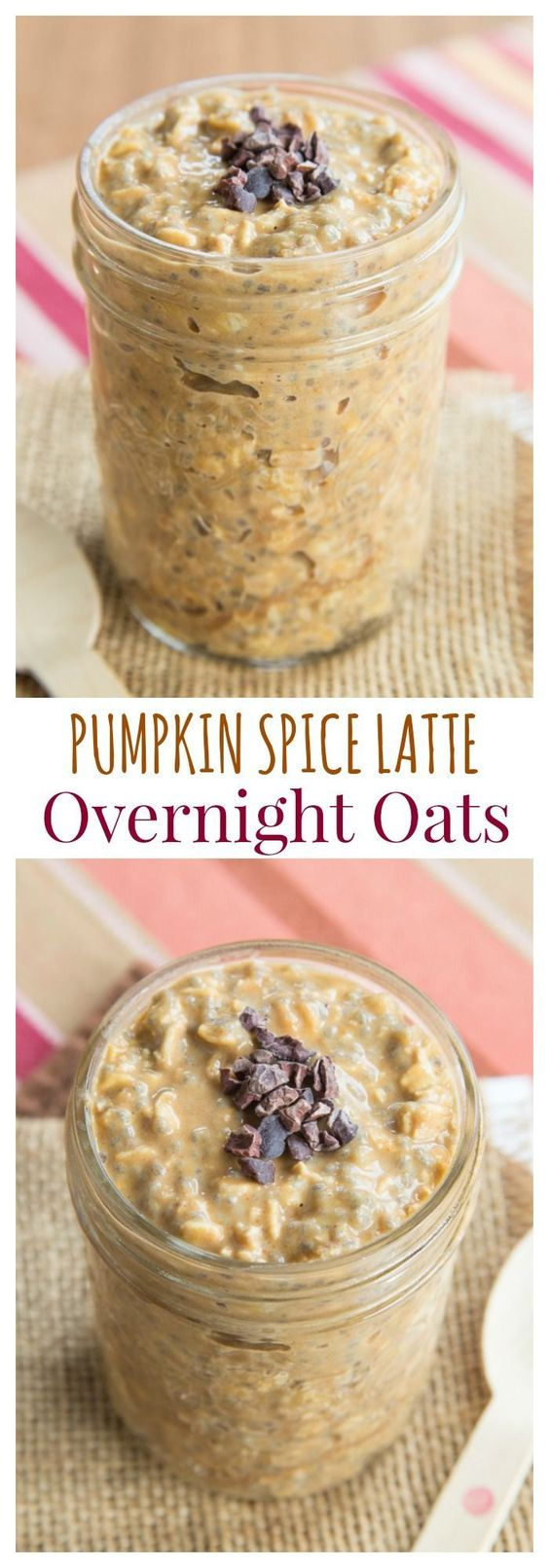 Pumpkin Spice Latte Overnight Oats - forget Starbucks and satisfy your PSL craving with a healthy breakfast recipe. | http://cupcakesandkalechips.com | gluten free: