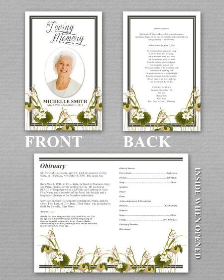 Funeral Brochure Template Free Microsoft – Memorial Program Templates Free