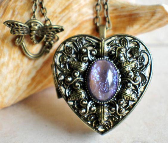 Blue dragons breath music box locket, heart shaped locket.
