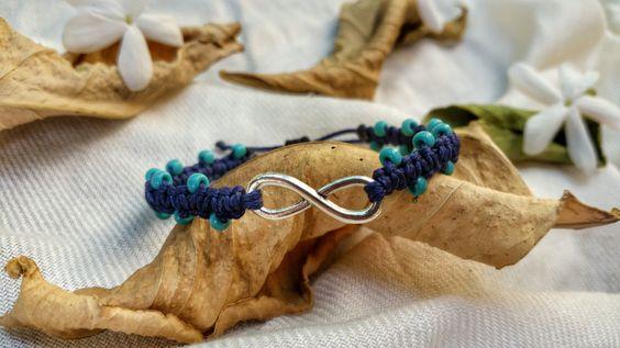 infinity bracelet, woven bracelet, macrame bracelet, micro macrame, macrame jewelry, friendship bracelet, boho bracelet, blue beads by NarkisMacrame on Etsy
