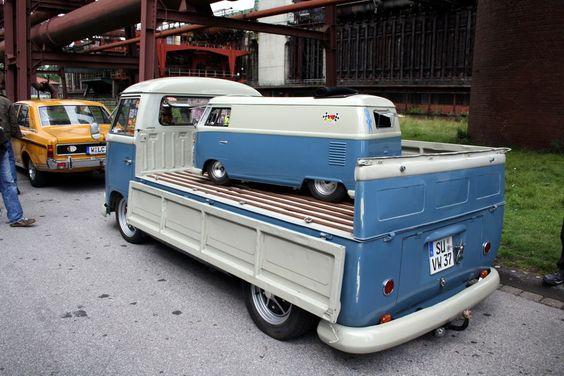VW Single Cab Pick-up hauling a VW panel Van