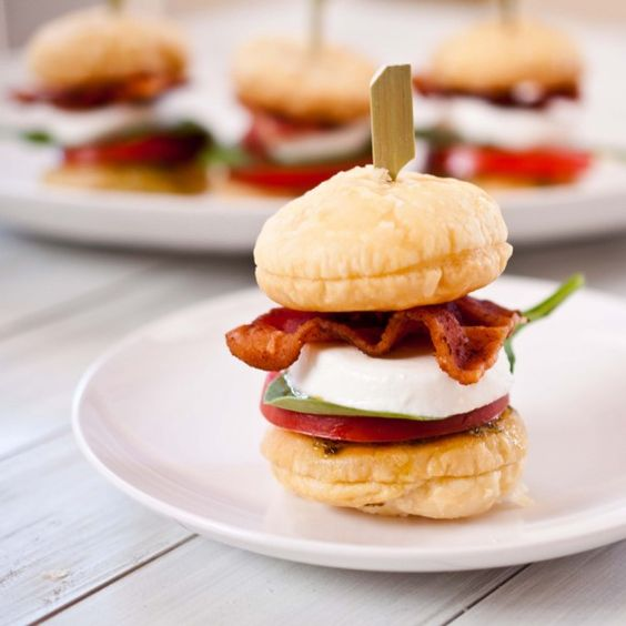 Such a good idea! Sliders with a puff-pastry bun. Decadent and delicious!
