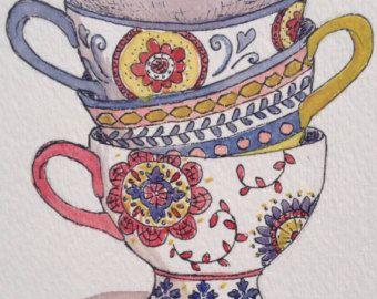 Tazas de té Bodegón acuarela pila de té tazas por jojolarue