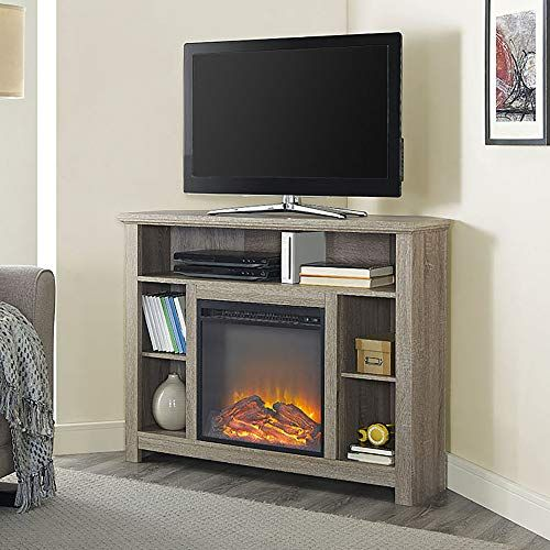 New We Furniture 44 Driftwood Wood Corner Fireplace Tv Stand