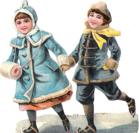 Oblaten Glanzbild scrap die cut Kind  9cm child Winter Eislaufen ice skating: