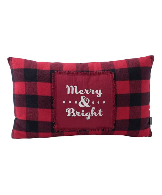 Buffalo Plaid Christmas Red and Black Merry and Bright Throw Pillow