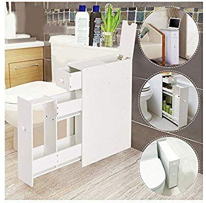 Amazon Com Narrow Wood Floor Bathroom Storage Cabinet Holder Organizer Bath Toilet Kitchen Wood Floor Bathroom Bathroom Floor Cabinets White Storage Cabinets