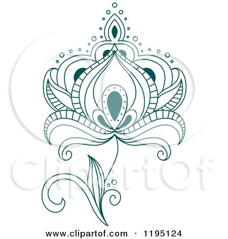 Clipart Of A Teal Henna Flower 3  Royalty Free Vector