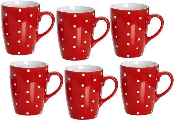 Kaffeebecher rot mit weißen Punkten / Pünktchen