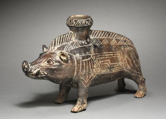 Vessel in the Shape of a Wild Boar, 700-500 BC - Italy, Villanova, Etruscan, 7th-6th Century BC - terracotta