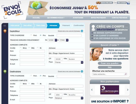 ETAPE 3, précisez l'adresse de départ et de destination de votre envoi