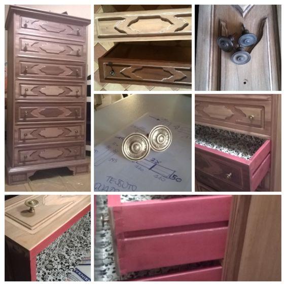 my last work..cassettiera come nuova,effetto legno naturale e rustico all'esterno,colori e rivestimento pop all'interno..