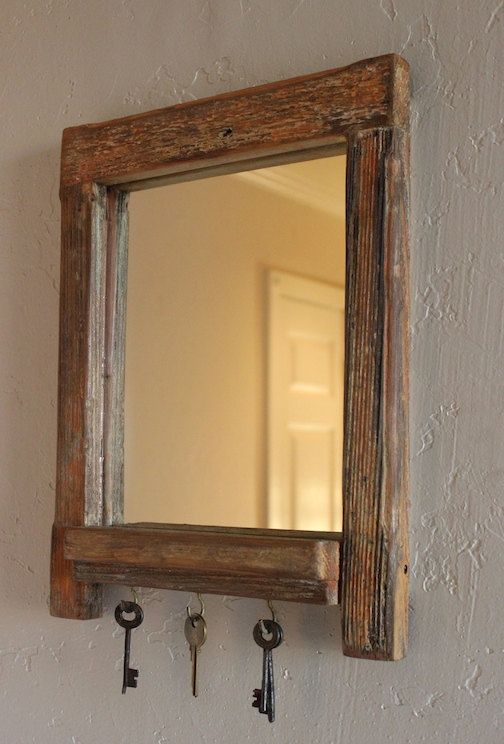 Rustic Foyer Mirror : Rustic wall mount entryway organizer mirror the quot mini