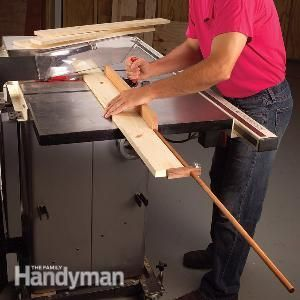 Assemble a simple cross cutting jig with a stop block for your table saw. Use it to quickly and accurately make repeat cuts.