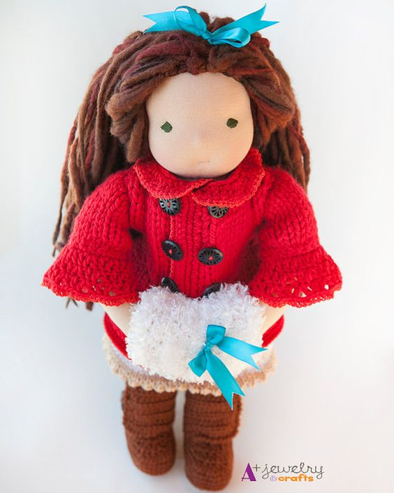 Waldorf doll, red, red jacket, coots, winter, winter outfit, doll clothes, doll clothing, doll accessories, waldorf doll clothing, cute.