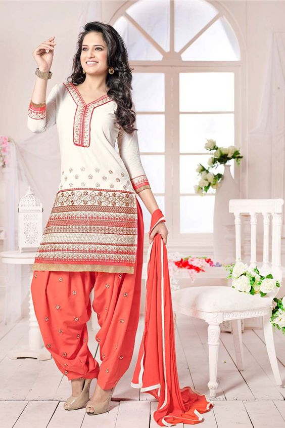 White Cotton Punjabi Suit | Women Salwar Kameez Online Shopping