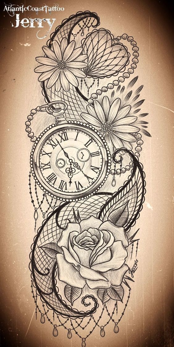 Thigh Clock And Flower Tattoo Designs