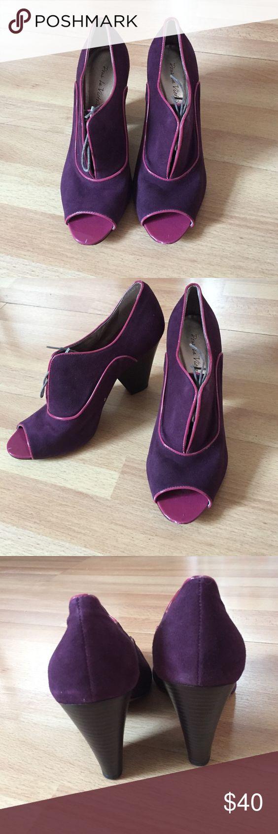 Pour La Victoire Purple Heels Adorable pair of suede Pour La Victoire heels with lighter purple piping Pour la Victoire Shoes Heels