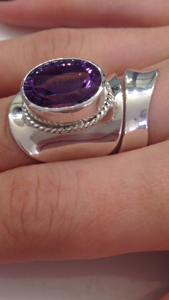 Sterling Silver, 9 Carat Brazillian Amethyst Anticlastic Contemporary Ring, Adjusts from a size 6 - 8 by CopperfoxGemsJewelry on Etsy