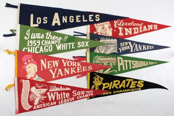(8) Vintage Baseball Pennants- With Very Rare 1930s Yankee Stadium Pennant