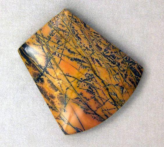 Yellow Feather Dendritic Jasper  Hand Cut by WildRavenStudio, $22.00