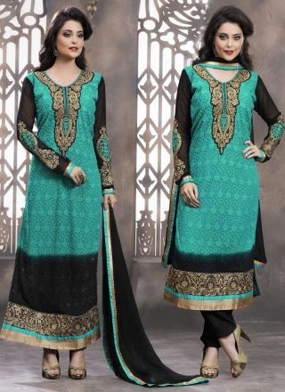 Turquoise And Black Georgette Embroidery Work Churidar Suit