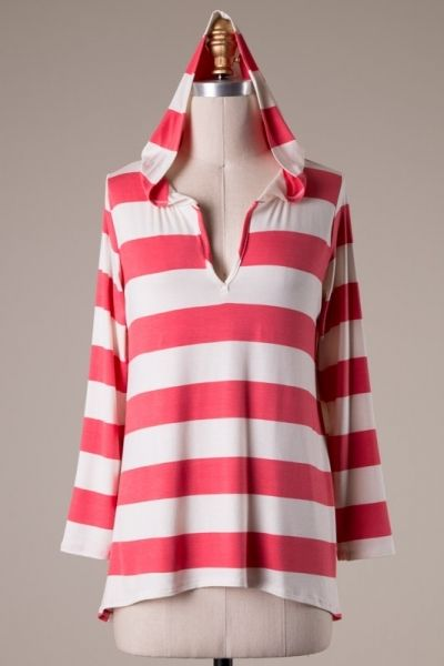 Long sleeve stripe top with hood.