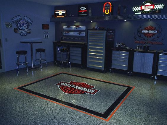 I like the idea of stashing tool boxes in the mancave for Man cave garage floor ideas
