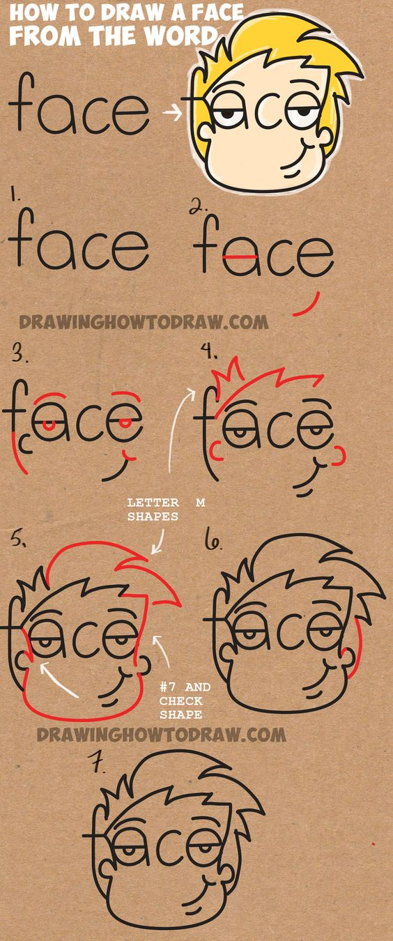Learn How To Draw Cartoon Faces From The Word Face Simple Steps