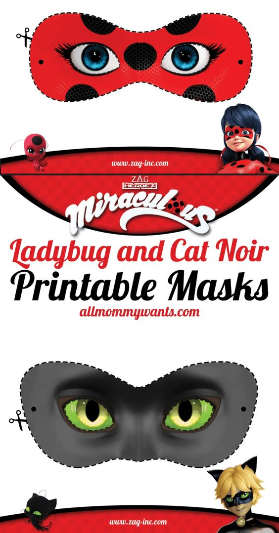 Printables: Miraculous Adventures of Ladybug and Cat Noir Masks
