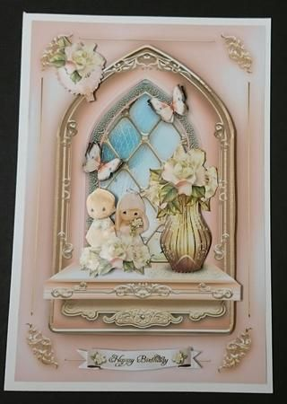 Pink Windows Card Kit by Sue Soules I printed the sheets onto satin photo paper. Cut out the main picture and attached it to a white card blank. The decoupage was added using foam pads.