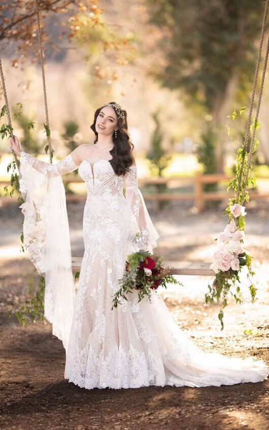 Martina Liana The Bridal Collection Colorado S Premier Bridal Salon Bell Sleeve Wedding Dress Wedding Dress Long Sleeve Fit And Flare Wedding Dress