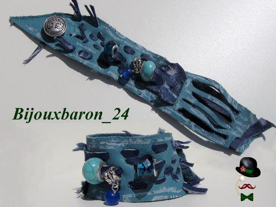 Armband, Used Look, Leder, türkis, blau von Bijouxbaron_24 auf DaWanda.com