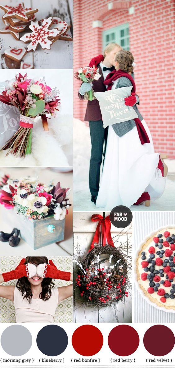 Red winter wedding ideas red wedding colour palette blue for Winter wedding color palettes