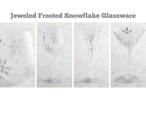 Jeweled Frosted Snowflake Glassware
