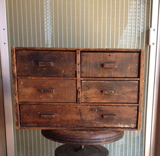 Vintage industrial primitive wood box drawer folk art storage organizer handmade box.