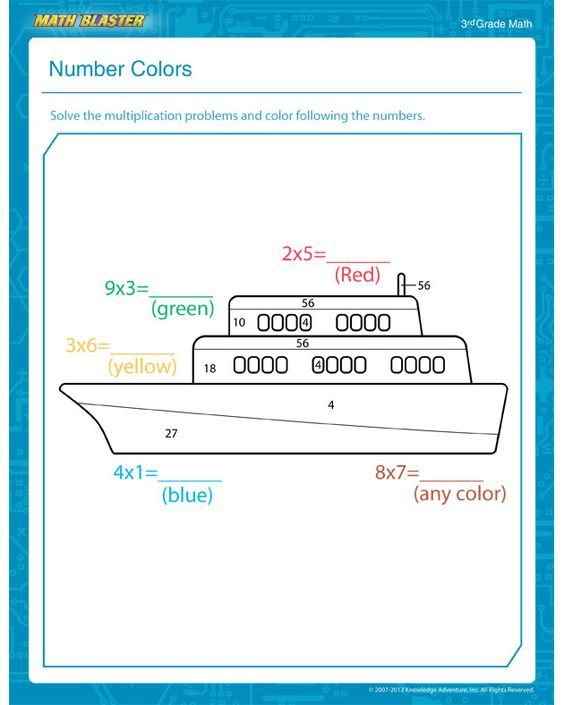Number Colors Free Math Worksheet for 3rd Grade – Free Homeschool Math Worksheets