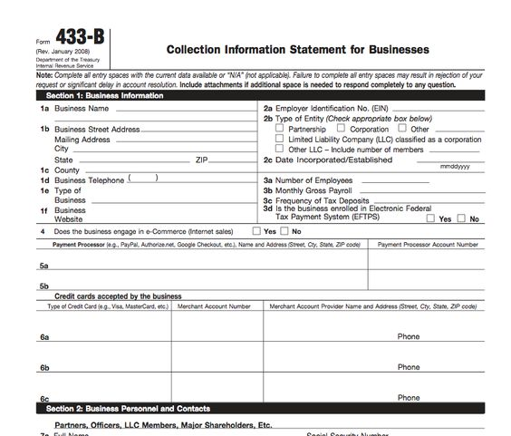 IRS Form 433-B Collection Information Statement for Businesses - authorization request form