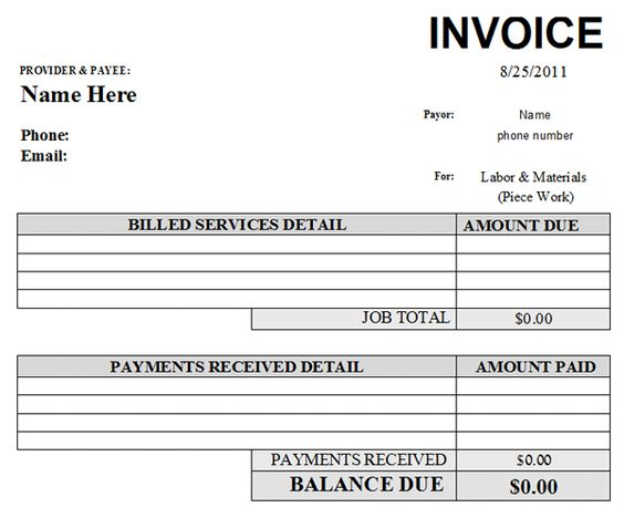 labor invoice template – residers, Invoice examples