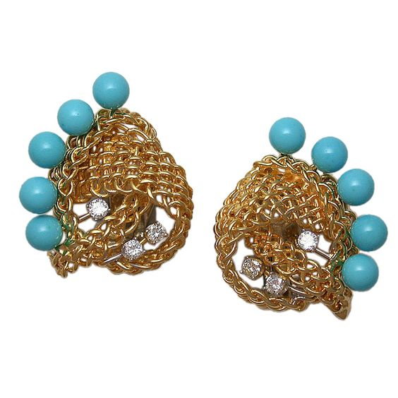 "The large, fan-shaped earclips designed as woven gold swirling knots, accented at the center with white diamonds and along the outer edges with 6mm ""sleeping beauty"" turquoise beads, signed Seaman Schepps, circa 1950."