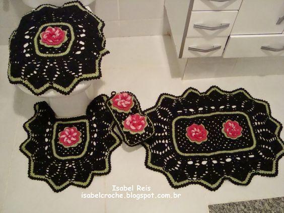 Isabel Crochê           : Jogo de banheiro preto em crochê